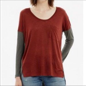 Madewell roster tee color block rust gray XS